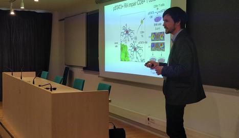 El científic Manuel Valiente, ahir durant la sessió a la unitat docent de la UdL.