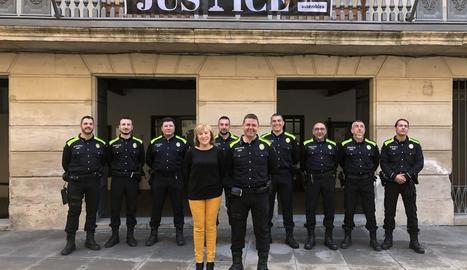 Els nou agents de la Policia Local que fins ara integraven el cos de la Urbana.