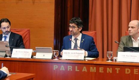 El conseller Jordi Puigneró, ahir, en una compareixença al Parlament.