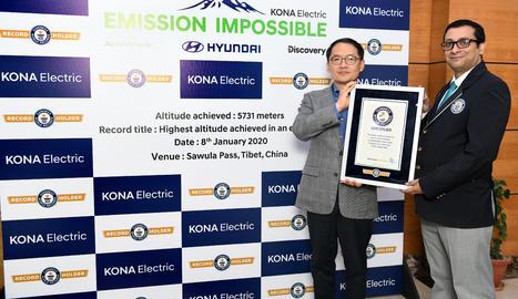 El Kona Elèctric ha estat el primer SUV elèctric que va arribar als 5.731 metres d'altura.