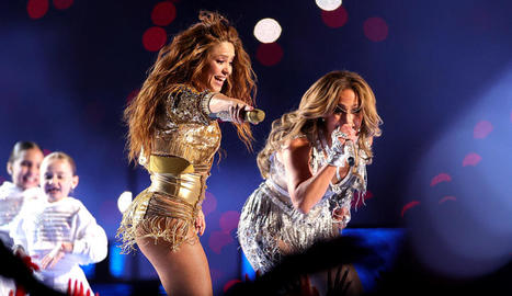Jennifer Lopez i Shakira, durant el xou.