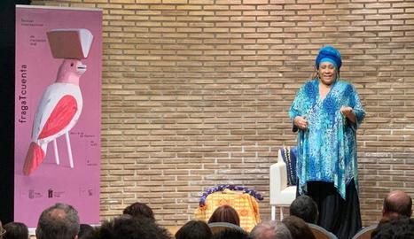 La narradora cubana Coralia Rodríguez, en la sessió de diumenge.