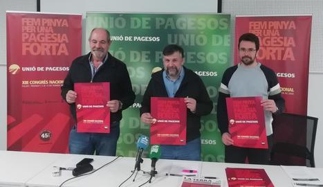 Jaume Pedrós, Joan Caball i Josep Sellart, ahir en la presentació del XIII Congrés Nacional d'UP.