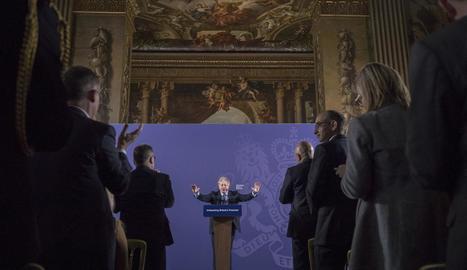 Boris Johnson, ahir durant la seua intervenció per parlar de la futura relació amb la UE.