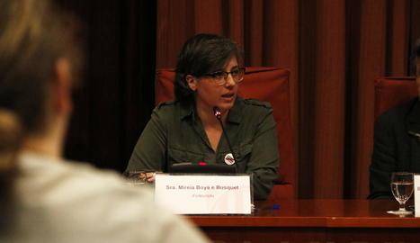 L'exdiputada de la CUP Mireia Boya aquest dimarts durant la compareixença a la comissió d'investigació del 155 al Parlament.
