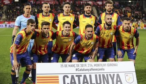 Selecció de Catalunya, amb Bojan Krkic, que l'any passat va jugar davant de Veneçuela a Girona.