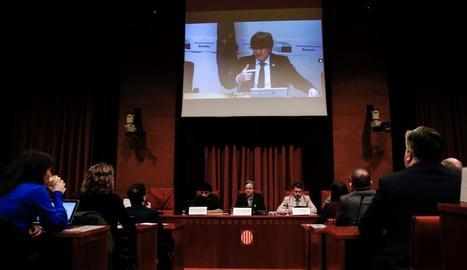 Carles Puigdemont, ahir, durant la seua compareixença per videoconferència en la comissió del 155.