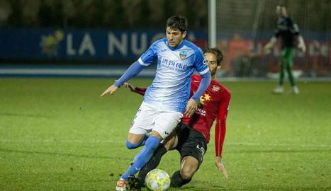 Jugadors del Lleida celebren el gol de Raúl que suposava el 2-1.