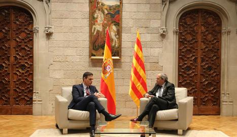 La reunió entre Sánchez i Torra, ahir dijous al Palau de la Generalitat.