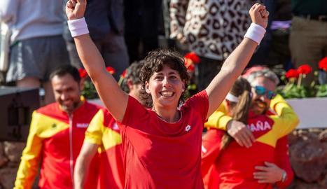 Carla Suárez celebra la seua victòria d'ahir i la classificació.
