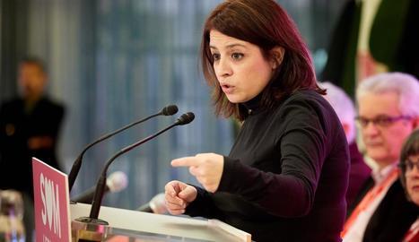 Lastra, durant la participació al congrés del PSC de Girona.