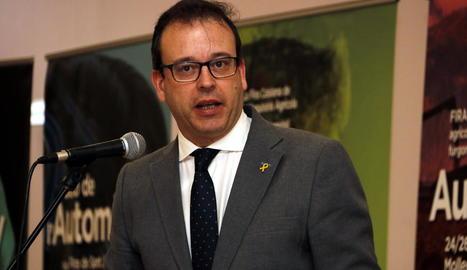 Pere Aragonès, ahir durant el XIII Congrés Nacional d'Unió de Pagesos a Falset.