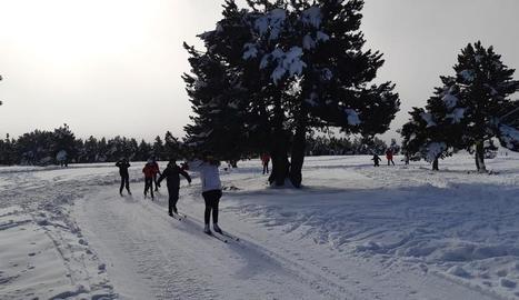 Escolars en classes d'esquí nòrdic.