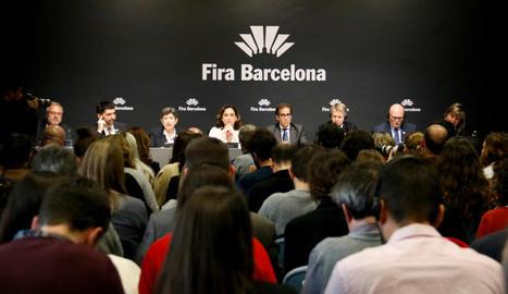 Autoritats durant la roda de premsa d'ahir per explicar els motius de la cancel·lació de la catorzena edició del Mobile World Congress de Barcelona.