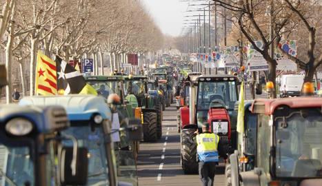 Desenes de tractors estacionats a l'avinguda Madrid de Lleida, ahir.