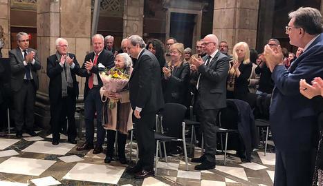 A l'acte va ser homenatjada Florència Ventura, esposa de Josep Benet.
