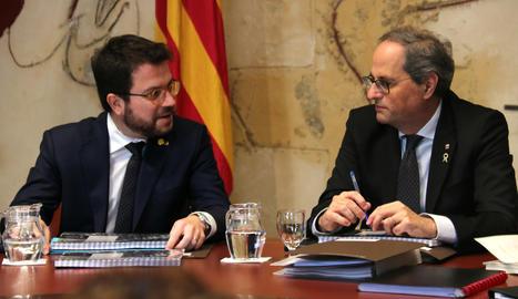 El president de la Generalitat, Quim Torra, i el vicepresident del Govern, Pere Aragonès, en una imatge d'arxiu.