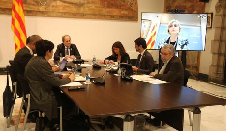 La reunió del Govern, ahir dimarts, pel coronavirus.