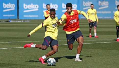 El Barça es va exercitar ahir per preparar el partit de diumenge amb el Madrid.
