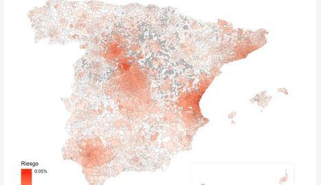 Mostren en un mapa el risc de nous contagis per coronavirus a l'Estat