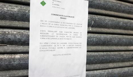 Lladorre recomana no beure aigua de la xarxa municipal per causa del nivell d'arsènic