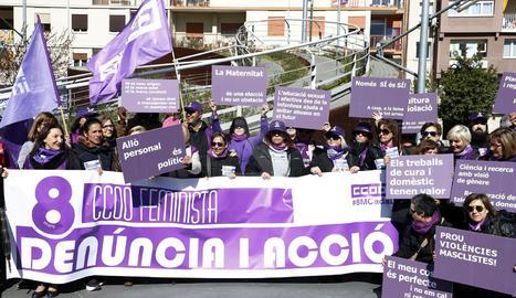 La concentració de CCOO aquest divendres al matí a la plaça Ricard Viñes de Lleida.