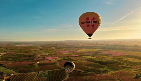 Dos globus volant ahir per sobre del 'mar rosa' que formen els arbres florits a Aitona.