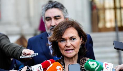 La vicepresidenta primera del Govern, Carmen Calvo.