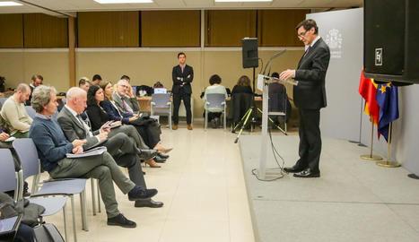 El ministre de Sanitat, Salvador Illa, va explicar ahir el nou escenari del coronavirus.
