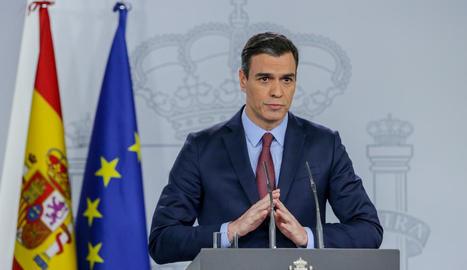 El president Pedro Sánchez durant la compareixença després de reunir-se amb el Consell Europeu.