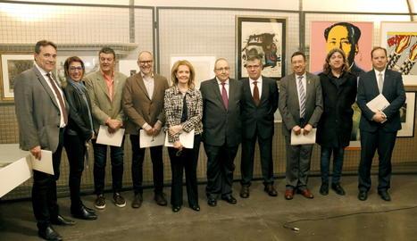 Representants polítics en la presentació de la donació de la col·lecció del lleidatà Antoni Gelonch al Museu de Lleida.
