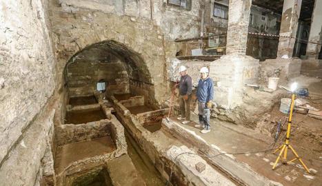 Les adoberies que es van trobar a l'interior de l'edifici de l'antiga Audiència.