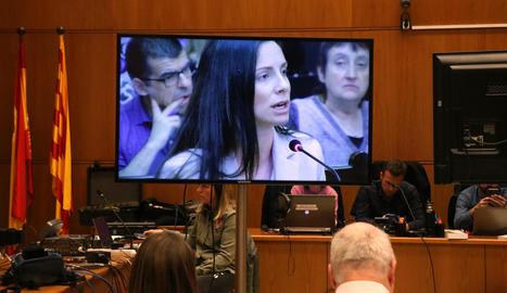 Imatge de Rosa Peral a la declaració a través del senyal institucional de l'Audiència de Barcelona.