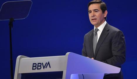Carlos Torres, president del BBVA, ahir, a Bilbao.