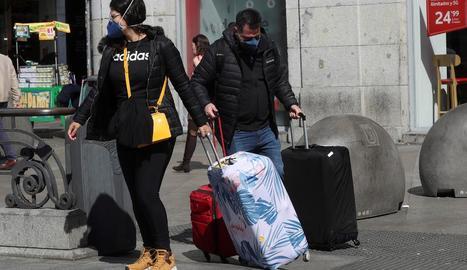 Els embussos registrats a l'A-4 ahir a primera hora de la tarda a Madrid.