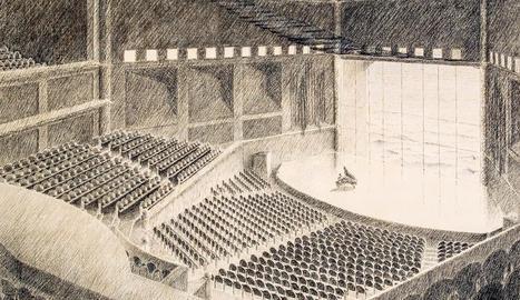 nebot i torrens. Perspectiva de de la façana del cinema Coliseum de Barcelona del 1920. Fotografia acolorida.