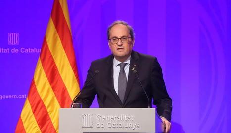 Compareixença ahir del president del Govern, Quim Torra, des del Palau de la Generalitat.