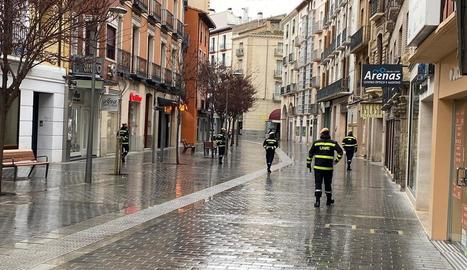 Militars de l'UME ahir a Osca.