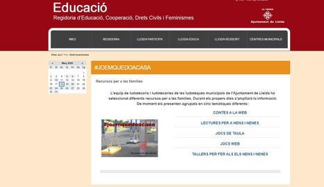 Les ludoteques municipals de Lleida ofereixen recursos educatius i d'oci on-line per a les famílies amb infants