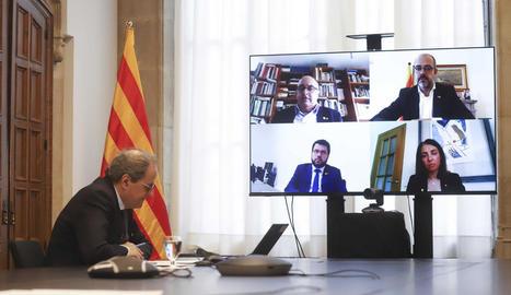 Quim Torra va dirigir el Consell Executiu celebrat ahir per videoconferència.