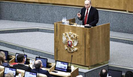 Putin, en una intervenció davant la Duma russa a primers de mes.