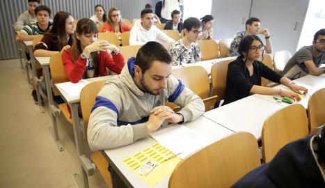 Imatge d'arxiu dels exàmens de selectivitat el curs passat a la Universitat de Lleida.