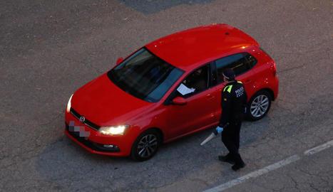 Imatge d'un control, dilluns passat, de la Policia Local de Tremp.