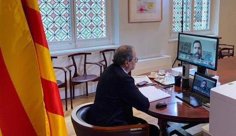 El president de la Generalitat, Quim Torra, ahir, durant la compareixença telemàtica al Parlament.