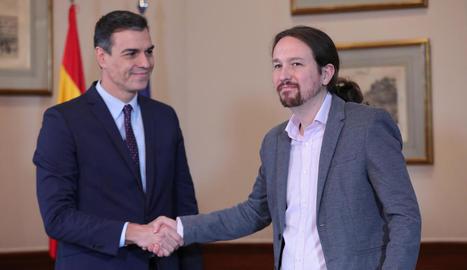 Sánchez i Iglesias, el 12 de novembre de l'any passat, anunciat el pacte de coalició.