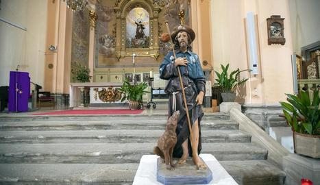 La imatge de Sant Roc, a la col·legiata de Santa Maria.
