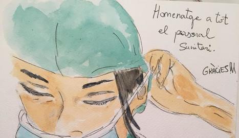A través d'aquest dibuix, l'Esther homenatja els sanitaris.