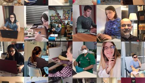 Fotocomposició del professorat-alumnat-PAS de l'escola, treballant