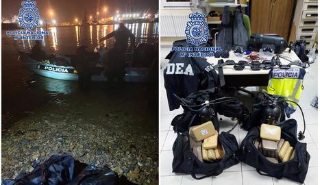 Imatges facilitades per la Policia Nacional de l'operació a Avilés i de la droga confiscada.
