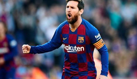 Messi celebra un gol durant un partit amb el FC Barcelona.